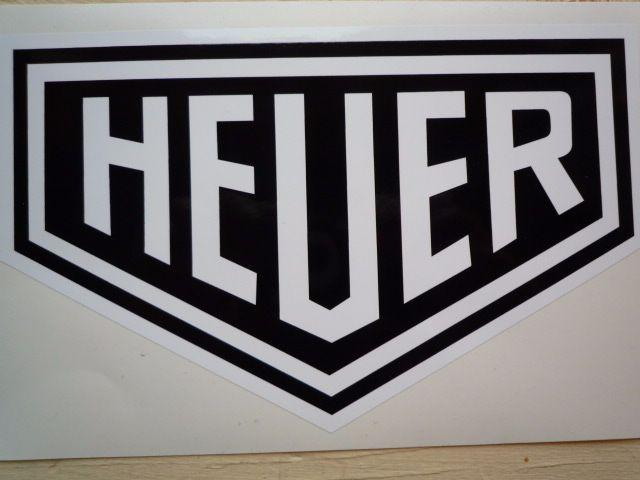 "Heuer Plain Style Black & White Sticker. 10"" or 12""."