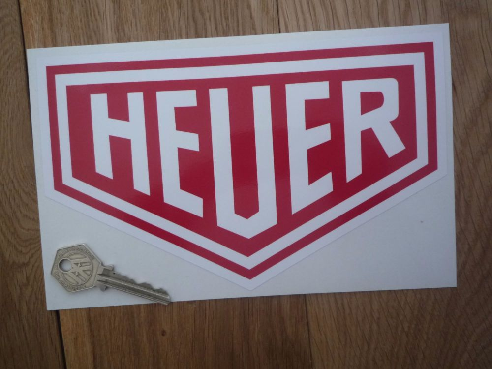 """Heuer Plain Style Red & White Sticker. 10"""" or 12""""."""