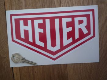 "Heuer Plain Style Red & White Sticker. 10"" or 12""."