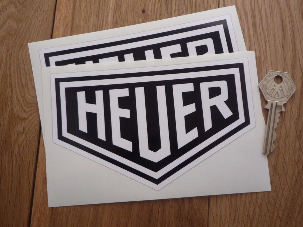 Heuer Plain Style Black & White Stickers Pair. Various Sizes.