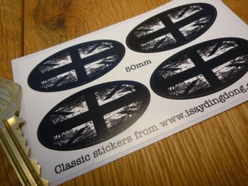 Union Jack Black & White Fade To Black Oval Stickers. Set of 4. 50mm.