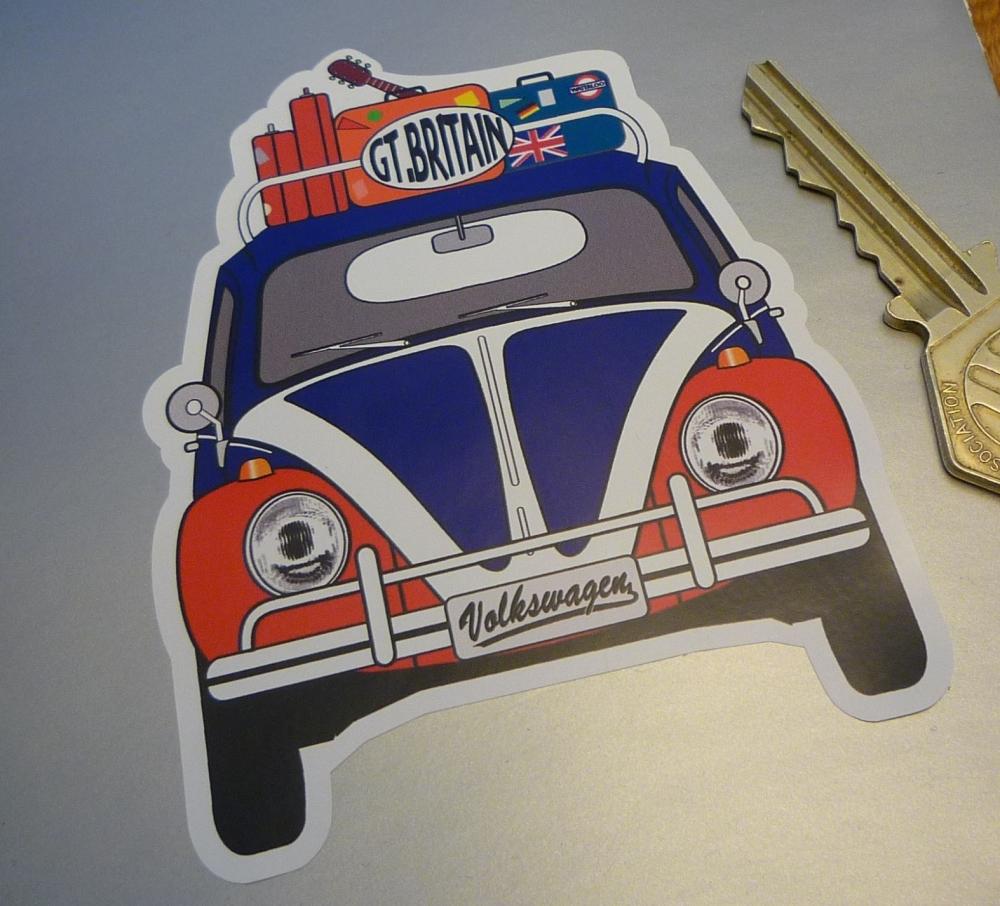 "Great Britain Volkswagen Beetle Travel Sticker. 3.5"""