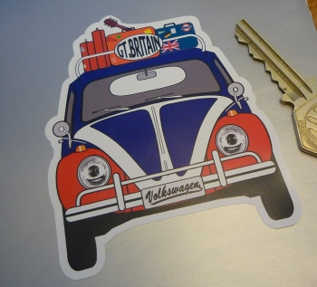 Great Britain Volkswagen Beetle Travel Sticker. 3.5""