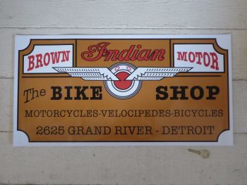 "Indian Bike Shop Detroit Sticker. 24.5""."