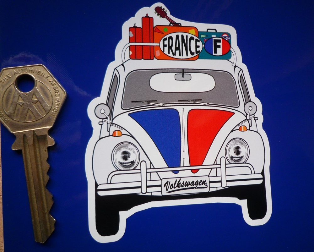 "France Volkswagen Beetle Travel Sticker. 3.5""."