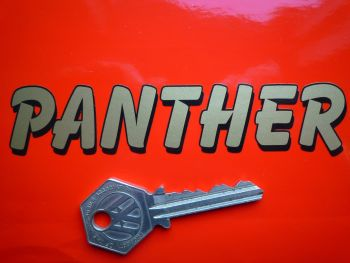 "Panther Motorcycle Printed Black & Gold Text Stickers. 4.75"" Pair."