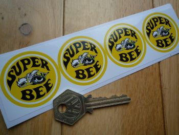 Dodge Super Bee Yellow Stickers. Set of 4. 40mm.