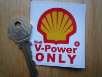 "Shell V Power Only Fuel Filler Flap Sticker. 2.25""."