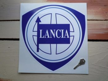 "Lancia Blue & White Shield Sticker. 8""."