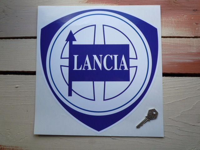"Lancia Blue & White Shield Sticker. 8""."