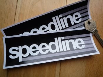 "Speedline Black, Grey and White Oblong Stickers. 6"" Pair."