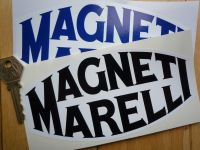 Magneti Marelli Old Serif Style Black or Blue & White Stickers. 6.25