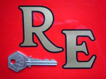 "Royal Enfield 'RE' Cut Letters Black & Gold Sticker. 4""."