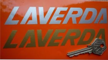 "Laverda Script Cut Text Stickers. 15"" Pair."
