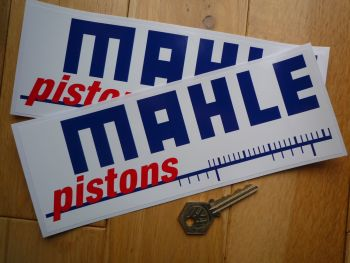 "Mahle Pistons Blue, Red & White Printed Stickers. 8.75"" Pair."