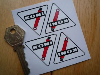 Koni Shock Absorber Outlined Triangular Stickers. Set of 4. 40mm.