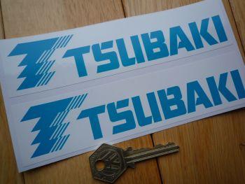 "Tsubaki Blue & White Oblong Stickers. 6.5"" Pair."