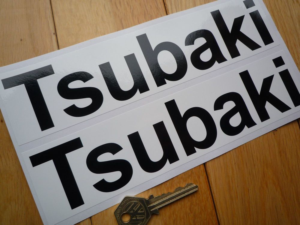 "Tsubaki Black & White Regular Font Oblong Stickers. 8.75"" Pair."
