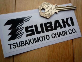 """Tsubaki TsubakiMoto Chain Co. Black & White Oblong Sticker. 4.5""""."""