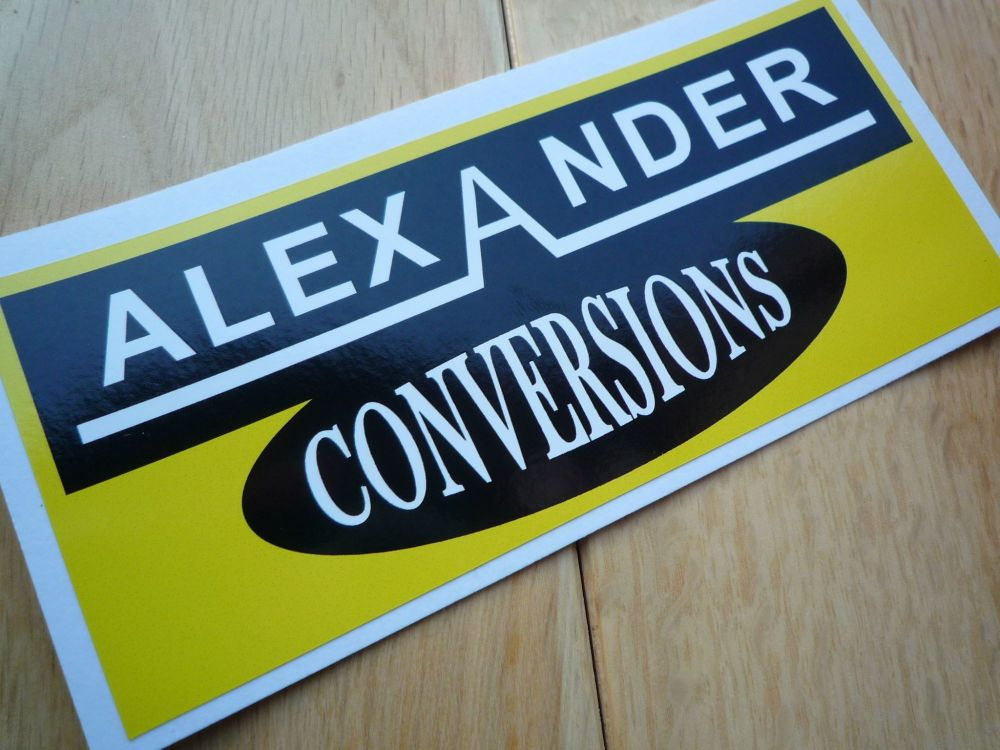 "Alexander Conversions Yellow & Black Oblong Stickers. 4.5"" Pair."