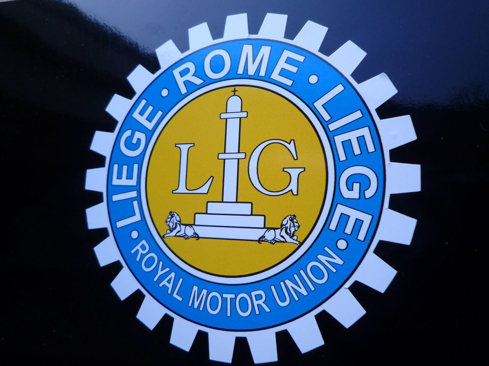 "Liege Rome Liege Royal Motor Union Sticker. 3.25""."