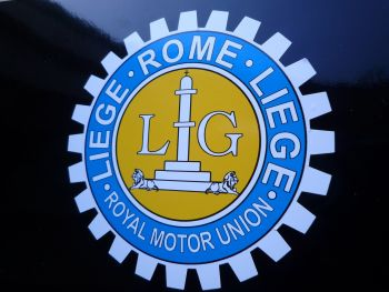 "Liege Rome Liege Royal Motor Union Sticker. 3.25""."