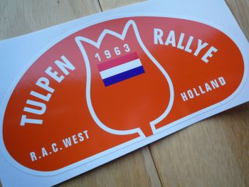 "Tulip Rally Tulpenrallye 1963 Orange Rally Plate Sticker. 6""."