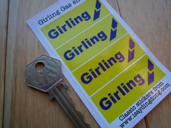"Girling Gas Shocks Yellow & Blue Break Style Stickers. 2"". Set of 4."