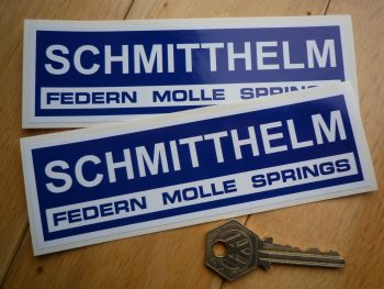 "Schmitthelm Blue & White Oblong Stickers. 6"" Pair."