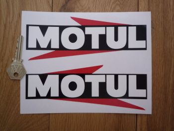 "Motul Arrowed Text Stickers. 14"" Pair."
