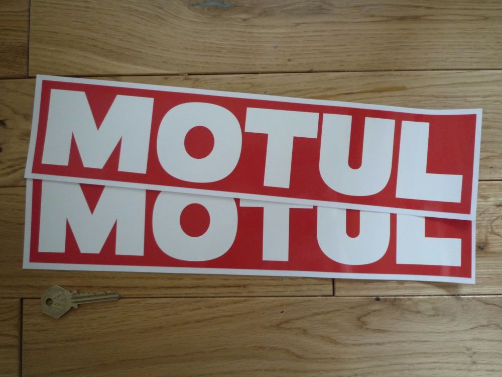 "Motul Old Style Plain White on Red Oblong Stickers. 14"" Pair."