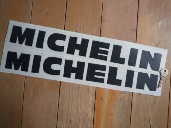 "Michelin Cut Vinyl Traditional Spaced Out Horizontal Text Stickers. 16"", 17"", 18"", 19"" or 24"" Pair."
