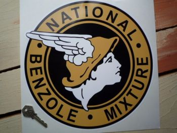 "National Benzole Mixture Round Sticker. 11""."