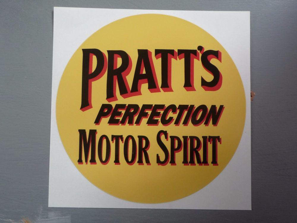 "Pratt's Perfection Motor Spirit Circular Sticker. 12""."