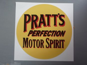 "Pratt's Perfection Motor Spirit Circular Sticker. 12""."