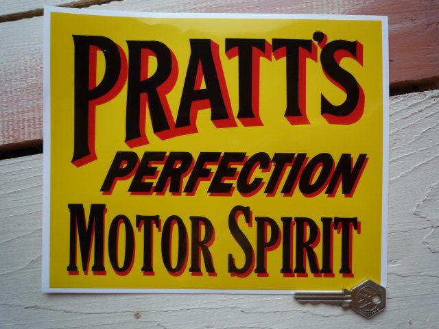 "Pratt's Perfection Motor Spirit Oblong Sticker. 14""."