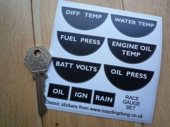 Race Car Gauge Stickers. Set of 9. Drag, Sprint, Rally or Racing Car.