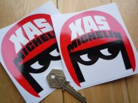 "Michelin XAS Open Face Helmet Style Stickers. 3"", 4"" or 6"" Pair."