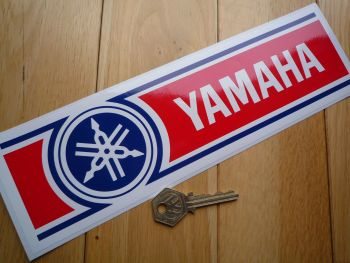 "Yamaha Red, White & Blue 70's Stripe Style Sticker. 10.5""."