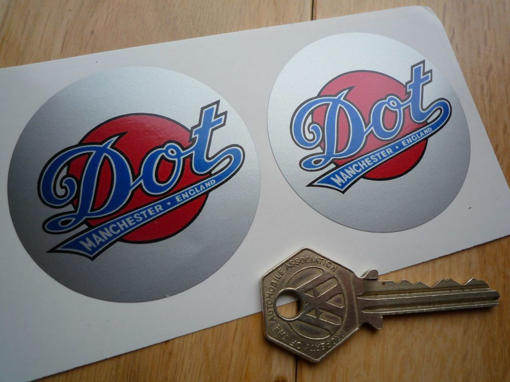 DOT 'Devoid Of Trouble' Blue, Silver & Red round stickers. 60mm Pair.