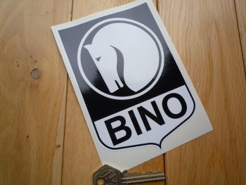 "Bino Black & White Motor Racing Sponsor Shield Sticker. 6""."