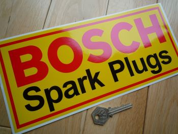 "Bosch Spark Plugs Yellow with Red Border Sticker. 11""."