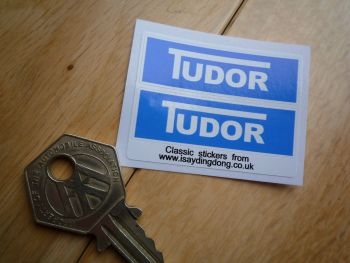 "Tudor Windscreen Washer Blue Stickers. 2"" Pair."