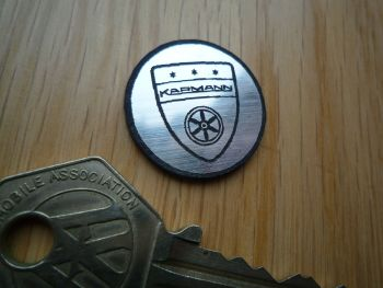 Karmann Logo Style Self Adhesive Laser Car Badge. 25mm.