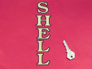 "Shell Old Style Vertical Cut Outlined Text Sticker. 8""."