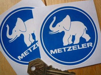 "Metzeler Blue & White Circular Stickers. 3"" Pair."