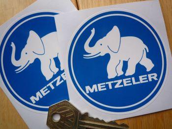 """Metzeler Blue & White Circular Stickers. 3"""" Pair."""
