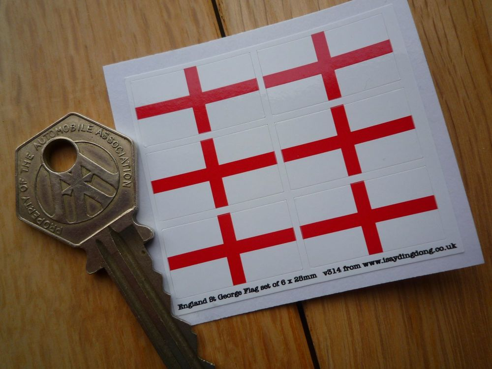 England Cross of St George Flag Small Coloured Stickers. Set of 6. 25mm.