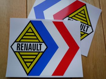 "Renault Alpine Gordini Tricola White Middle Stickers. 12.5"" Pair."
