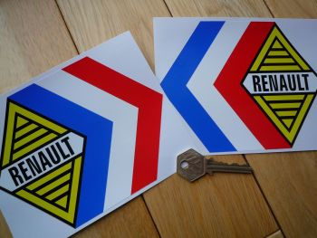 "Renault Alpine Gordini Tricola White Middle Stickers. 6"" Pair."